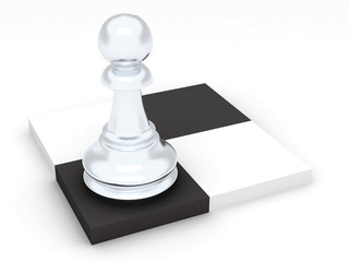 Pawn of white color on dark and light chess cells