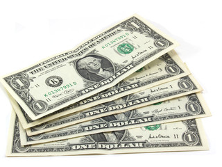 five dollars isolated on a white background