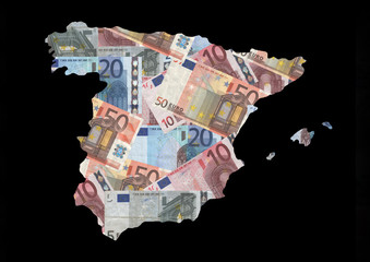 Map of Spain with euros