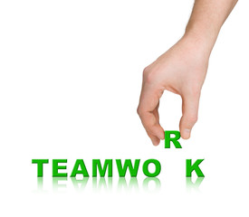 Hand and word Teamwork, business concept