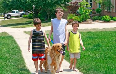 Kids Walking the Dog