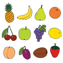 Fruits, clip-art on a white background.