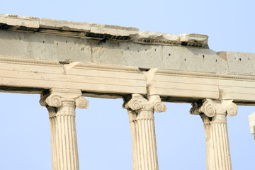Close up of Erechtheum columns in Athens, Greece.
