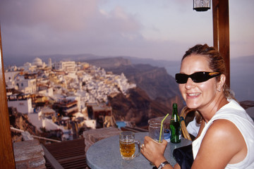 Dining with a view of Fira