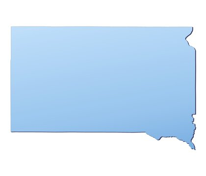 South Dakota(USA) map filled with light blue gradient
