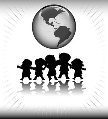kids and planet earth; happy children