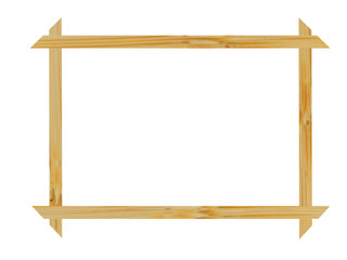 Frame from natural wood on a white background
