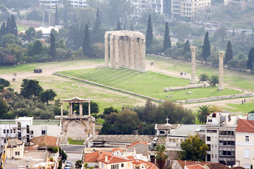 The Temple of Olympian Zeus in Athens, Greece.