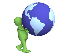 The green 3d person carrying in hands globe