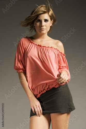 37597f04c beautiful blonde girl wearing pink blouse and cotton mini skirt ...