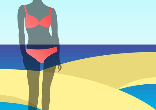 Illustration of woman in bikini standing on beach