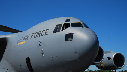 Front view of cargo airplane