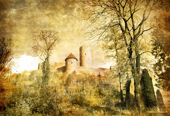 medieval castle (Germany) - toned picture in retro style