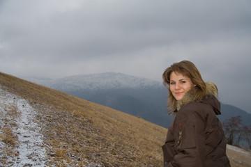 Young attractive woman trekking