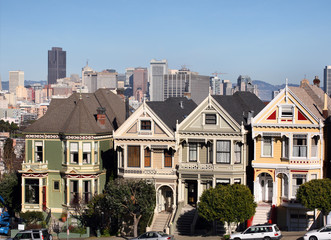 Victorian houses at Alamo Square in San Francisco, California.