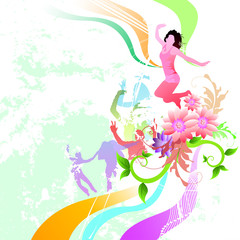happy people on a floral abstract background.