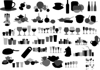 Vector collection of dishware