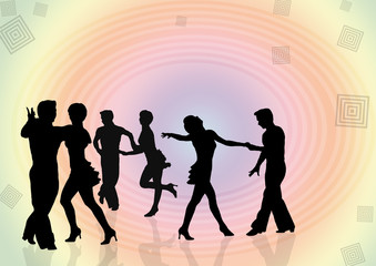Background  silhouettes of the young people dancing in a disco