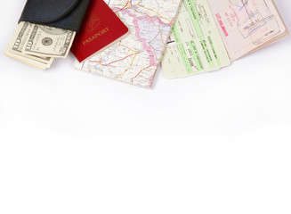 Travel frame on white with passport, map, fly tickets and money