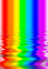 Beams of colors of a rainbow reflected on a water surface