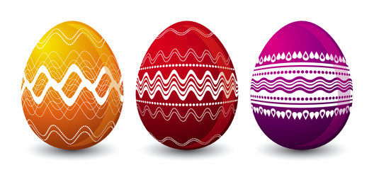 three color easter eggs over white background