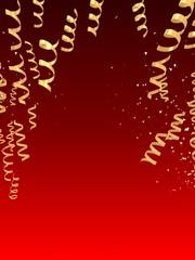 goldene geschenkbänder vor rotem hintergrund