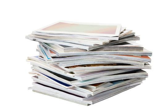 Batch of magazines isolated on white
