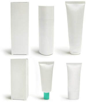 Medical or cosmetics packs and containers, blank, isolated