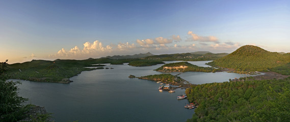 Panoramic view of small islands and fishing docks