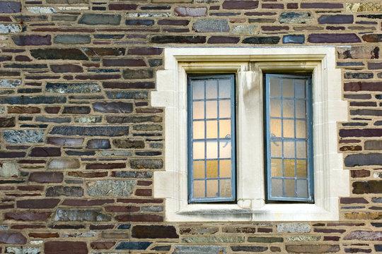 Trellised window of old university campus building, Princeton, New Jersey