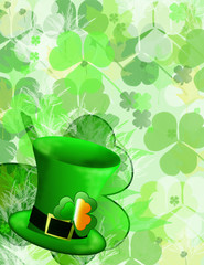 st patricks day hat with clover background