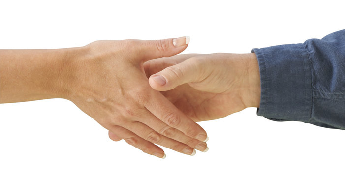 Man and woman shaking hands isolated on a white background.
