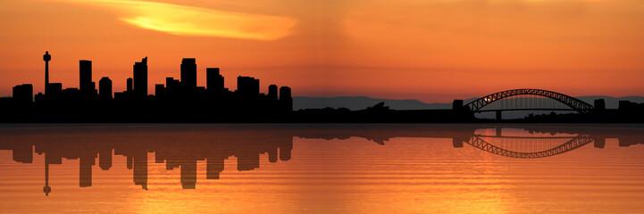 Sydney skyline at sunset illustration