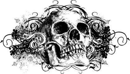Grunge skull floral illustration