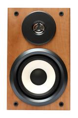 wooden music speaker isolated on white