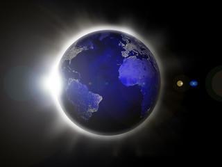 earth backlighted