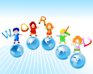 world; kids and planet earth