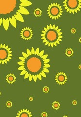 Sunflowers on green