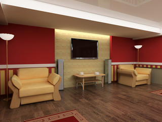 Exclusive interior red drawing room 3d image