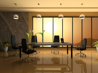 Interior of the modern cabinet for negotiations 3D rendering
