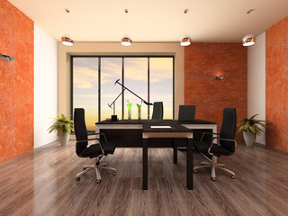 Interior of the modern office 3D rendering