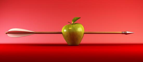 3d scene with pierced apple by arrow