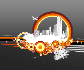 City and nature with circles on grey background.