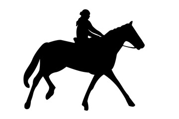 horseback riding silhouette with clipping path