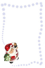 christmas card.  santa claus and snowflake on white background