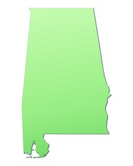 Alabama (USA) map filled with light green gradient
