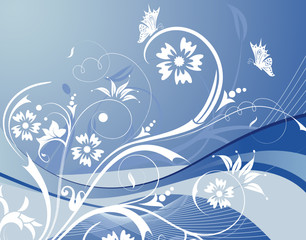 Flower background with waves and butterfly, design, vector