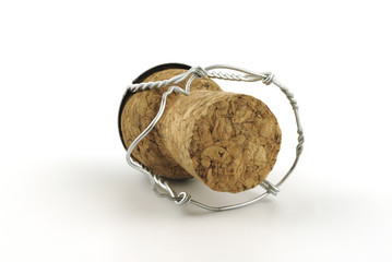 Champagne cork without any brand marks, on a white background