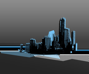 Black city with blue silhouette. Vector