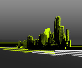 Black city with green silhouette. Vector